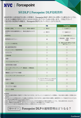 Symantec DLPとForcepoint DLP比較資料